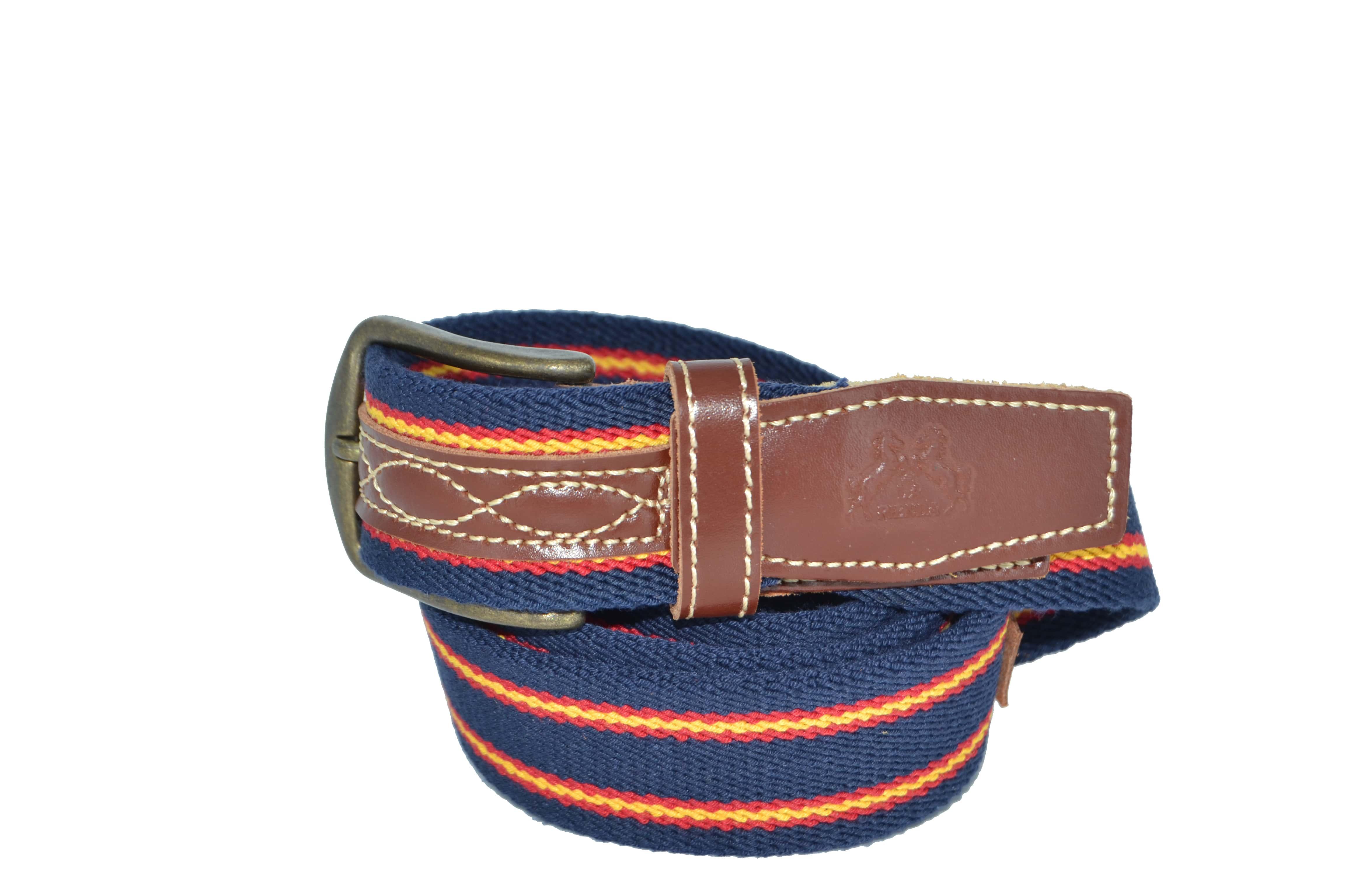 cinturon elastico y piel con bandera de españa